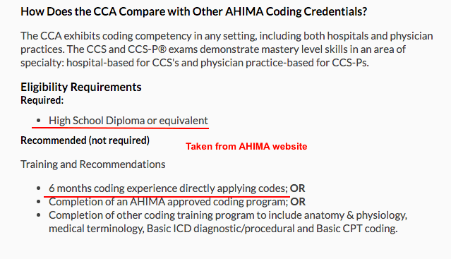 Ahima course requirements