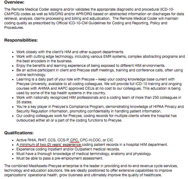 Job offer for medical coding