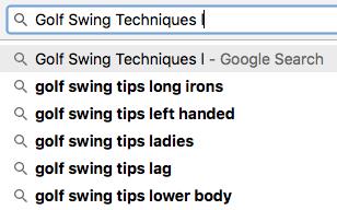 Golf Swing Niche Keyword Example 3