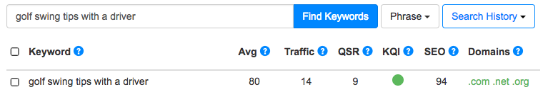 Jaaxy Keyword Tool Results