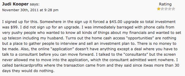 Home Cash Access Complaint