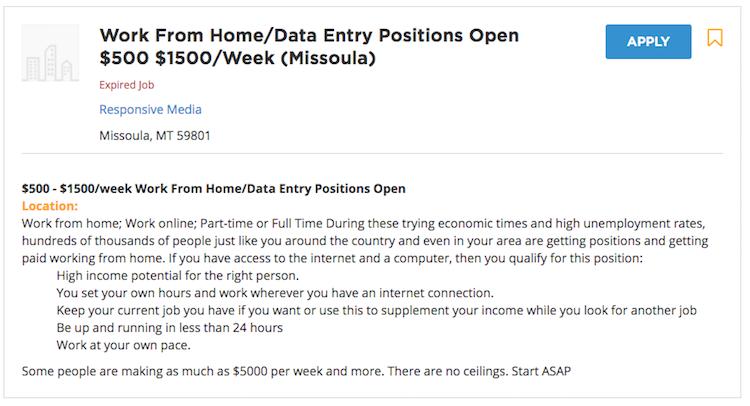 Livecareer Data Entry Job Listing