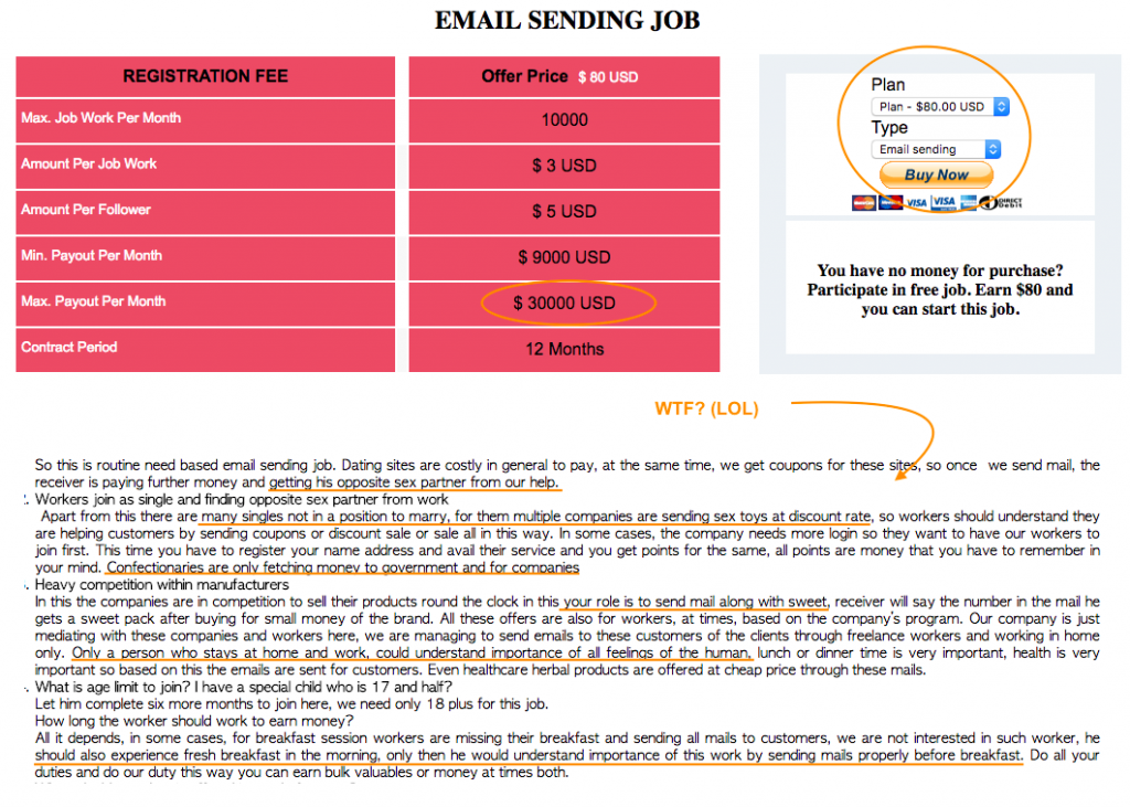 Fake Email Sending Job Description