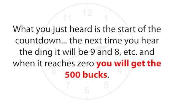 Countdown Timer 500 Dollars