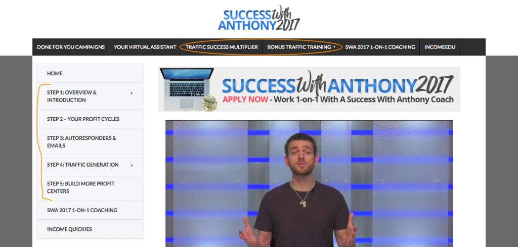 Success With Anthony Members Area
