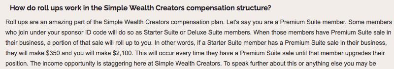 Simple Wealth Creators Compensation Plan