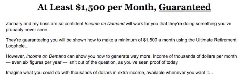 One Thousand Five Hundred Dollar Guarantee