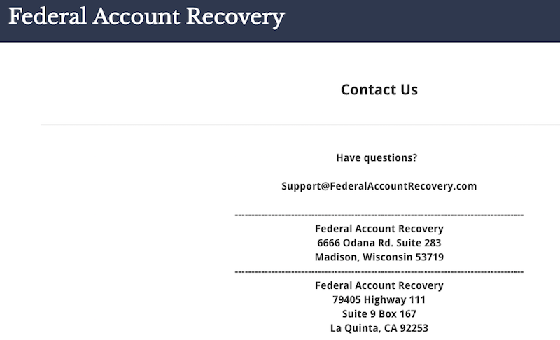 Address For Federal Account Recovery