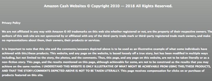 Amazon Cash Website Disclosure