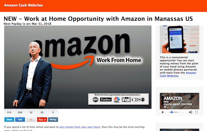 Fake Work From Home Opportunity- News Article