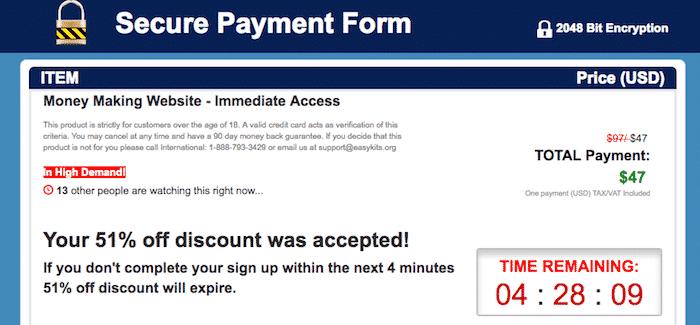 Money Sucking Website Order Form