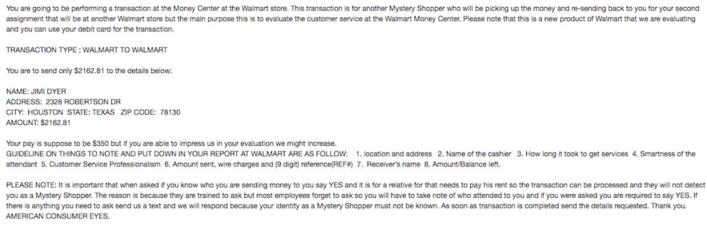 WalMart Mystery Shopper Task