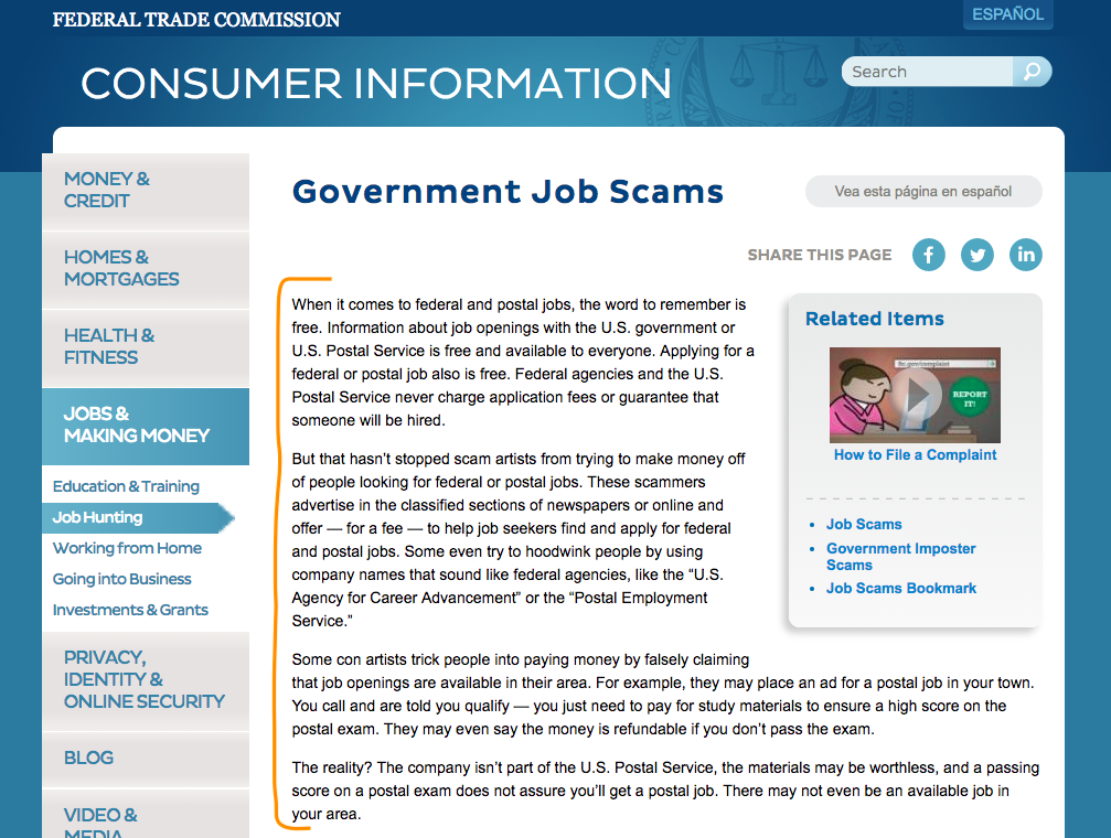 FTC Warning About Postal Job Scams