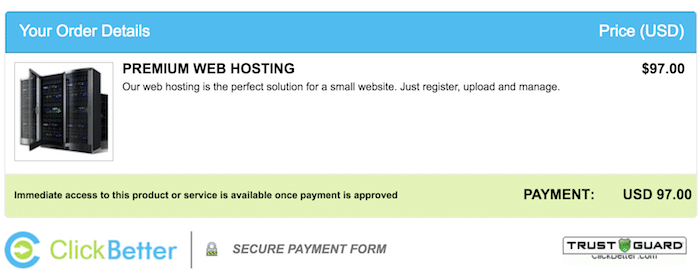 Automated Money Sites ClickBetter Order Screen