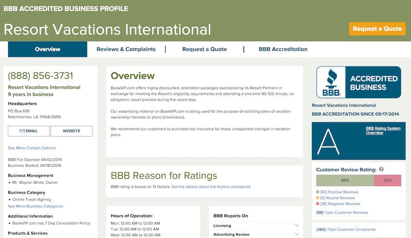 Resort Vacations International BBB Page