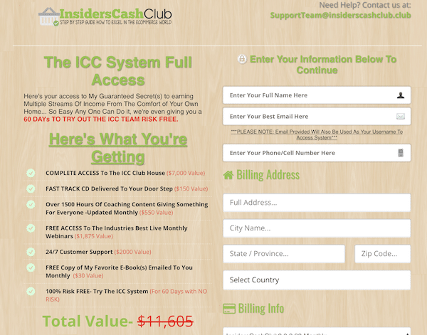 ICC System Checkout Page