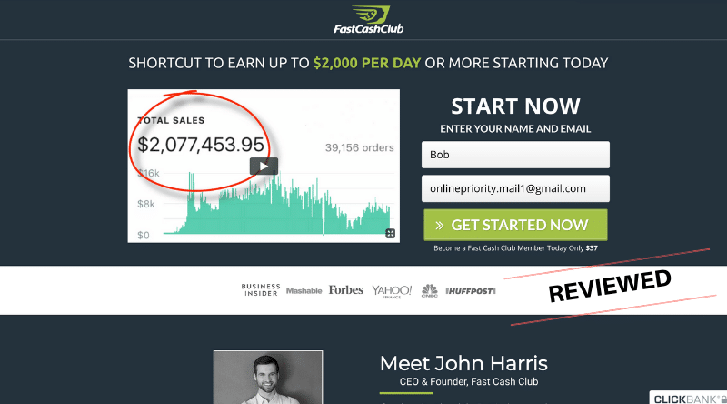 Fast Cash Club - Scam or Make $2K Per Day - Review