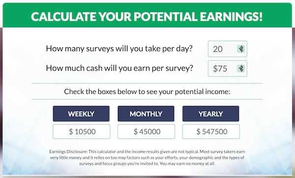 My Survey Jobs Income Calculator