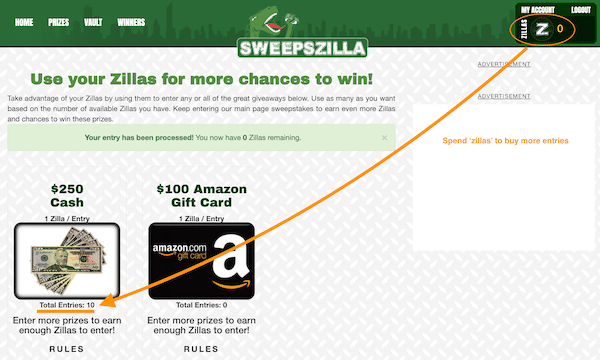 Spend Zillas To Buy More Entries