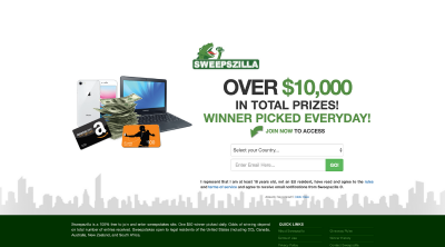 Sweepszilla - Scam or Legit Sweepstakes Site