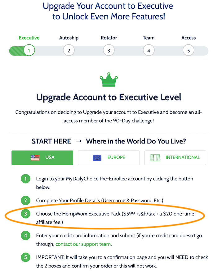Upgrade to Executive Page