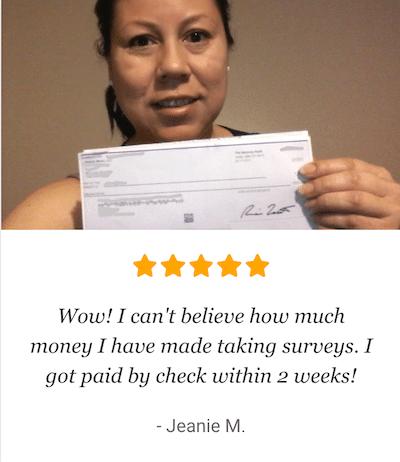 Woman Holding Check Fake Testimonial