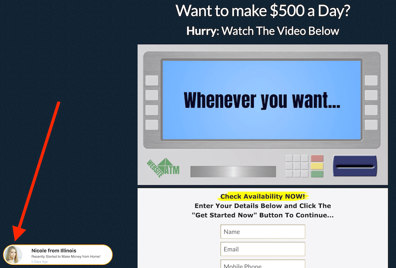 Fake Testimonials Website ATM