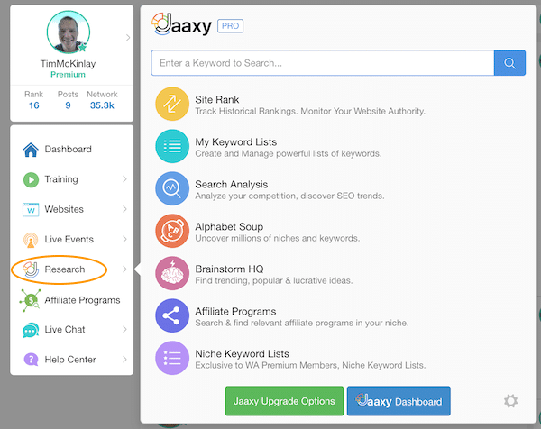 Research Tab and Access to Jaaxy