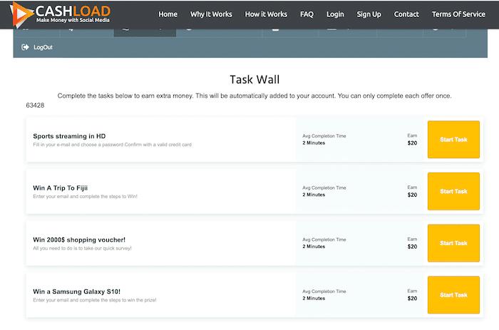Task Wall Inside CashLoad Members Area