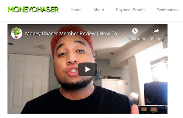 Testimonial for Money Chaser Website