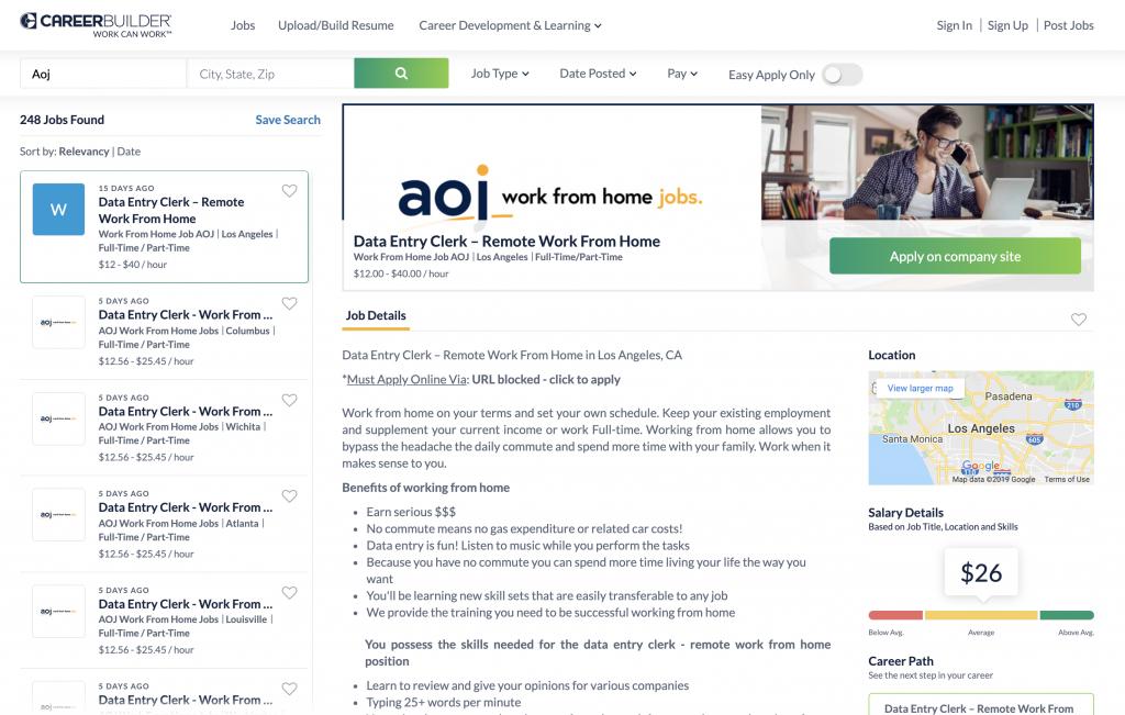 Job Advertisement on Career Builder Website