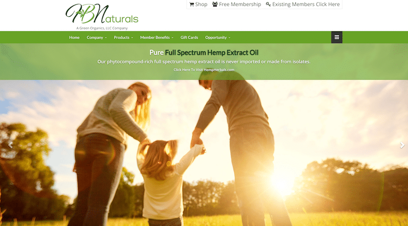 Screenshot of HB Naturals Website