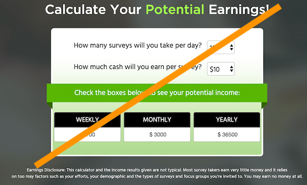 Calculator to work out potential earnings