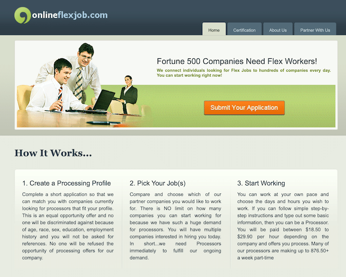 Online Flex Job Homepage