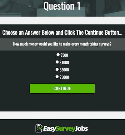 Question 1 on EasySurveyJobs.com Website