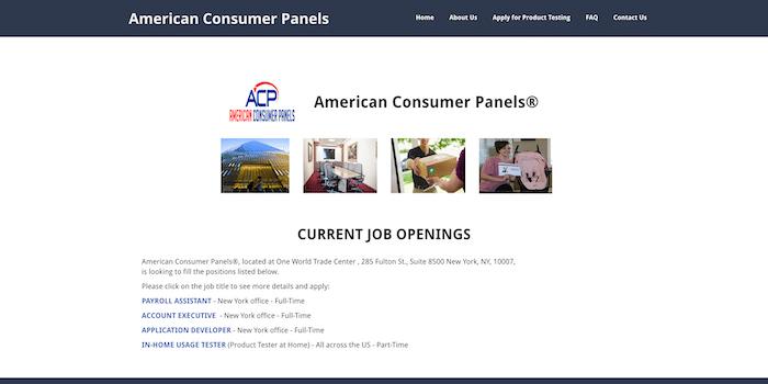 Screenshot of American Consumer Panels Website