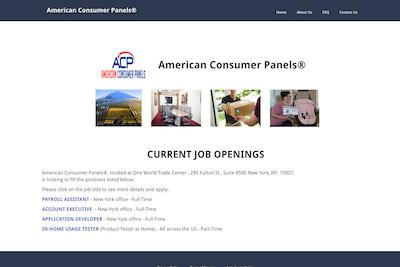 American Consumer Panels website fake job openings