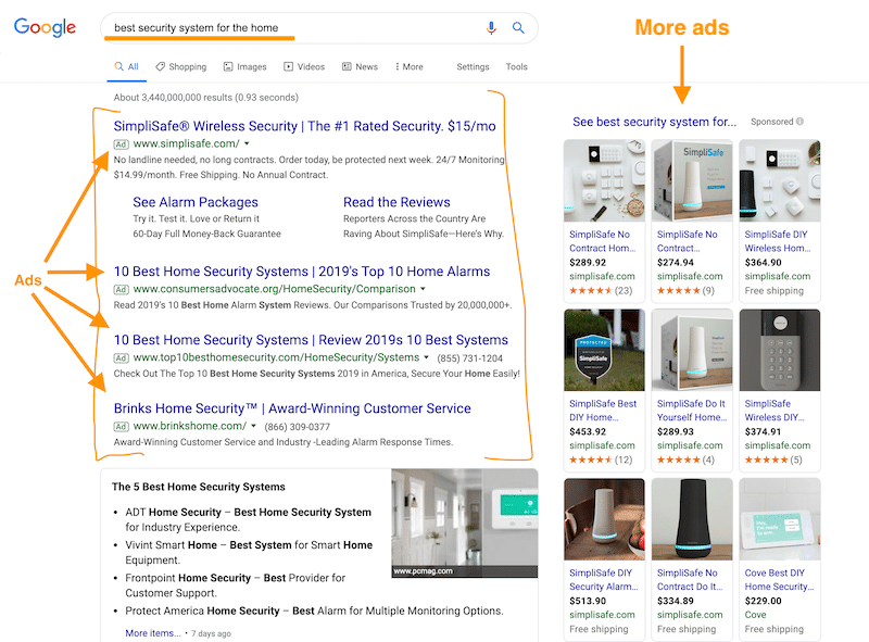 Example of Advertising on Google