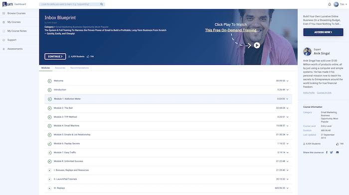 Inbox Blueprint Modules Inside Members Area