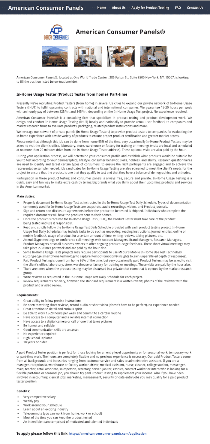 Product Tester Job Description