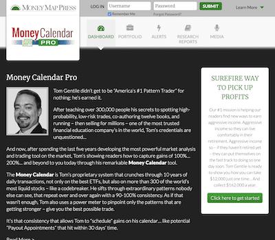 Money Calendar Pro sales page on Money Map Press website