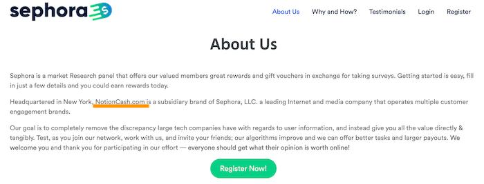 GoSephora.com About Page