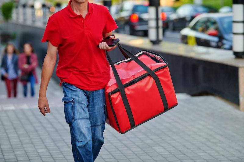 Example of Person Delivering Food on Foot
