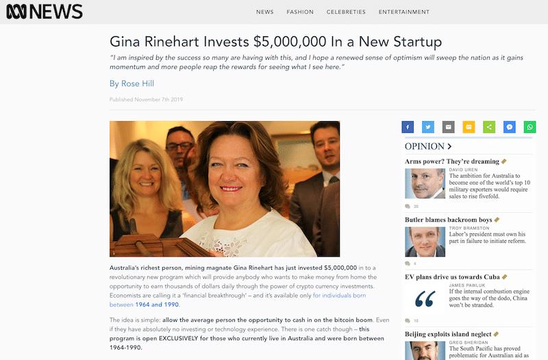 Fake News Article Gina Rinehart