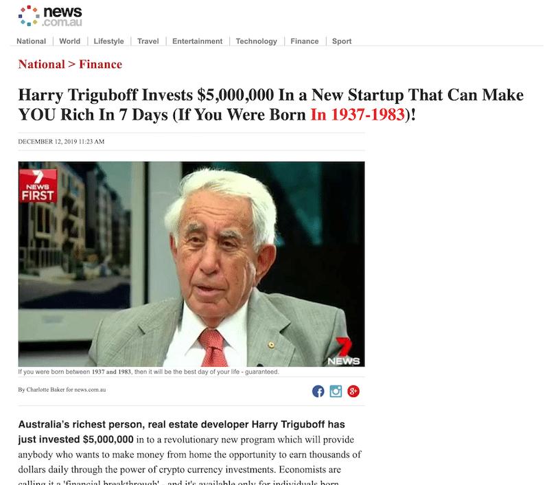 Fake News Article Harry Triguboff