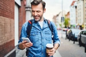 Example of man using a walking app