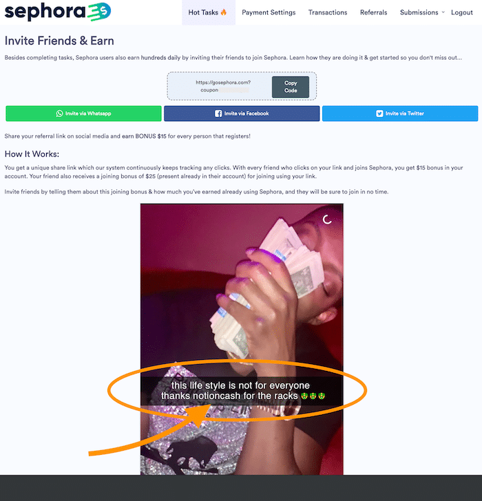 Notion Cash Testimonial on Sephora Website