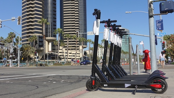 Row of Bird Scooters