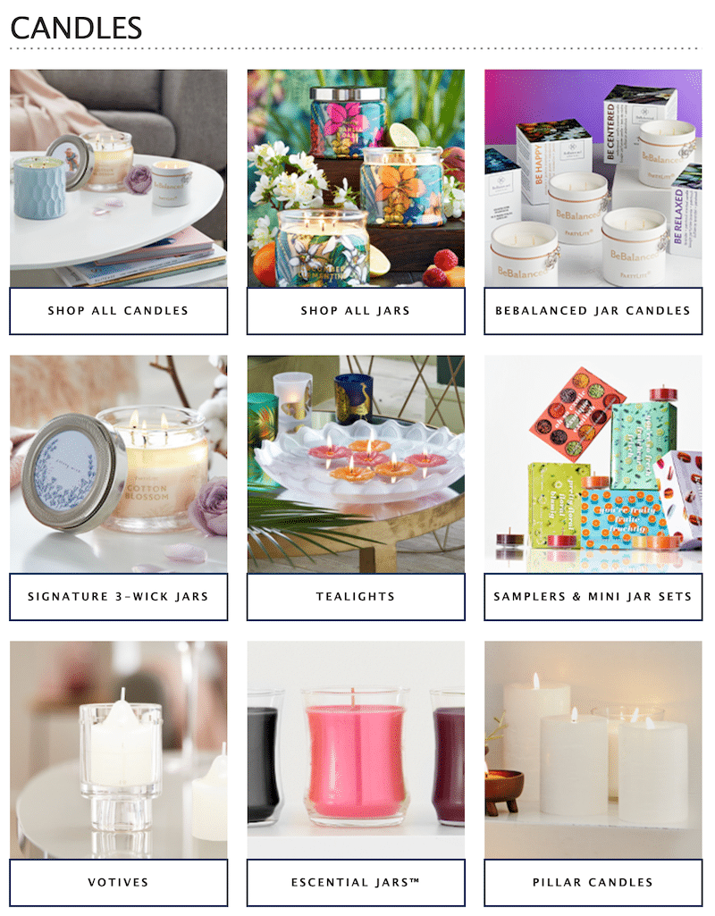 Examples of Candles Made By PartyLite