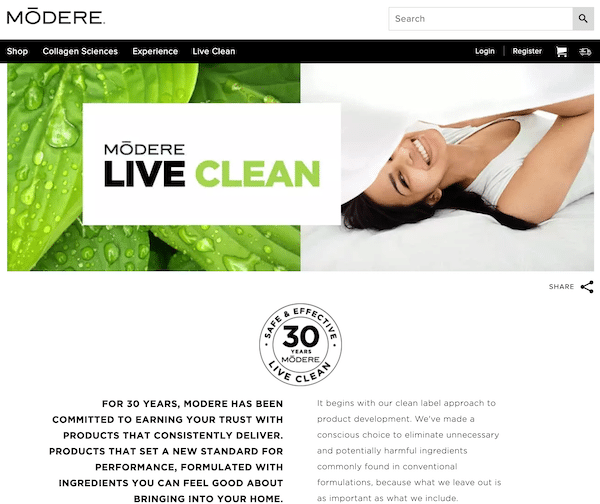 Modere products Live Clean concept